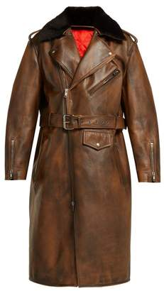 Calvin Klein Shearling Collar Leather Coat - Womens - Brown