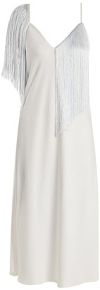 Ellery Fandango V Neck Fringed Crepe Midi Slip Dress - Womens - White