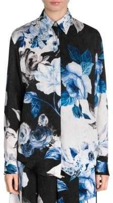 Off-White Floral Silk Button-Down Shirt