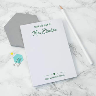 XOXO Personalised 'From The Desk Of...' A6 Teacher's Notepad