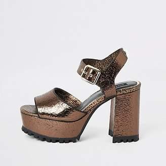 River Island Bronze textured cleated platform sandals
