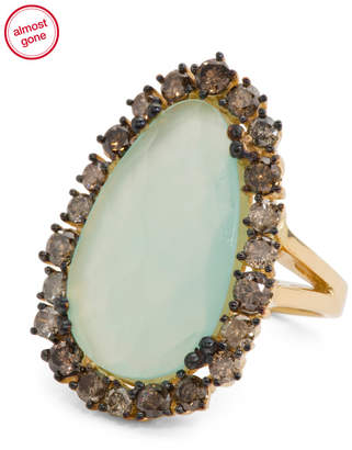 Made In Usa 18k Yellow Gold Diamond Chalcedony Ring
