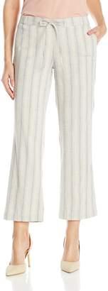 NYDJ Women's Jamie Wide Leg Ankle Pants in Striped Stretch Linen