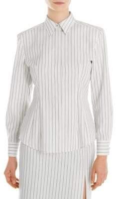 Sara Battaglia Women's Striped Wool Shirt - Black/White - Size 42 (6)