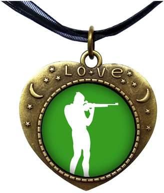 GiftJewelryShop Bronze Retro Style Olympics athlete shooting target Heart Lover Moom Star Pendant Charm Necklaces