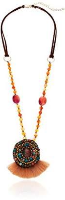 Panacea Womens Multi Stone Circle Rope Fringe Pendant Necklace
