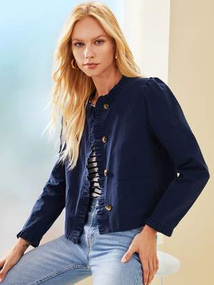 Shein Buttoned Front Ruffle Trim Placket Jacket