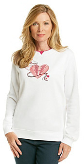 Breckenridge® Crew Neck Embellished Passion Hearts Fleece Pullover