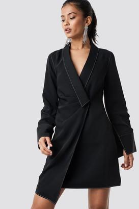 NA-KD Hannalicious X Draped Blazer Dress Black