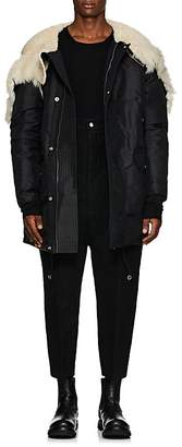 Rick Owens Men's Shearling-Hood Tech-Twill Down Parka