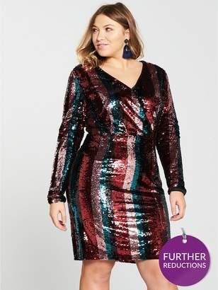 River Island V By Very Curve Stripe Sequin Dress - Multi