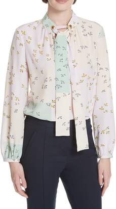 Tory Burch Patchwork Tie-Neck Blouse