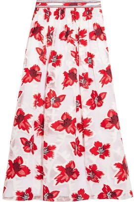 Tory Burch - Barrington Embellished Fil Coupé Chiffon Maxi Skirt - Red $450 thestylecure.com