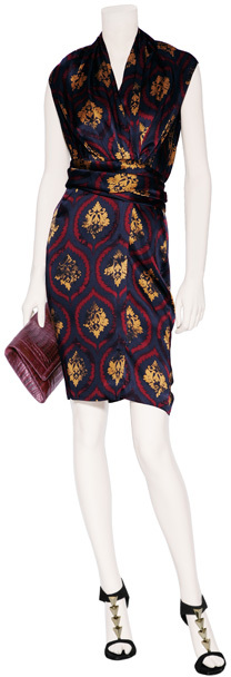 Sophie Theallet Midnight Blue Baroque Print Silk Wrap Dress