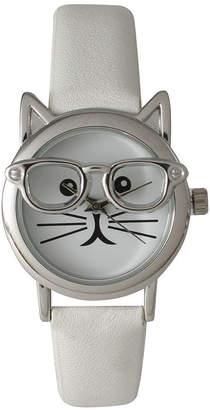 OLIVIA PRATT Olivia Pratt Womens Silver-Tone Ears And Glasses White Cat Face Print Dial White Faux Leather Strap Watch 15097