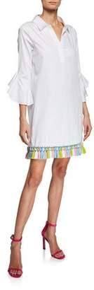 Badgley Mischka Ruffle-Sleeve Tassel Trim Shirtdress