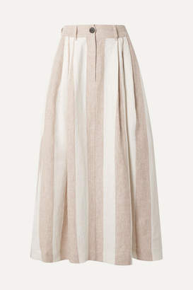 Mara Hoffman Net Sustain Tulay Pleated Striped Organic Linen Midi Skirt - Off-white