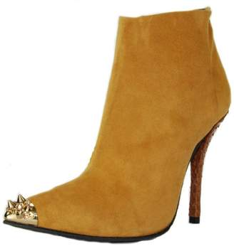 Baldan Luxury Shoes Studded Camel Bootie