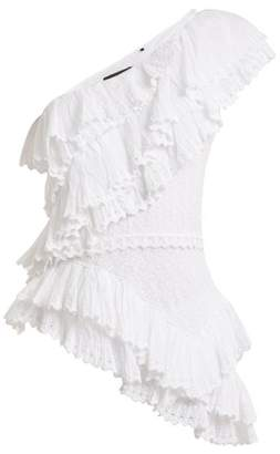 Isabel Marant Zellery One Shoulder Broderie Anglaise Cotton Top - Womens - White