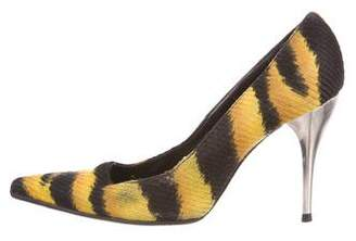 Versace Canvas Pointed-Toe Pumps