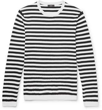 Theory Roldans Slim-Fit Striped Cotton-Blend Sweater