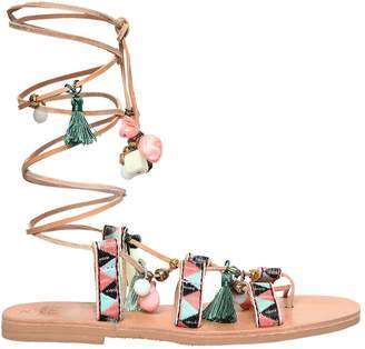 Mabu By Maria Bk 10mm Lake Swan Lace-Up Leather Sandals