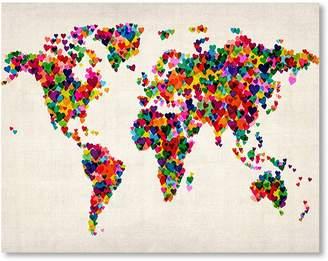 Americanflat World Map Heart Wall Art, Print Only 42x60cm