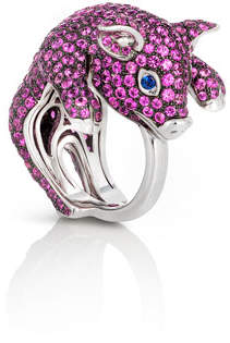 Roberto Coin 18k Sapphire Pave Pig Ring, Size 6.5