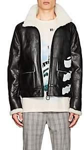 "Off-White Men's ""White Black"" Shearling Jacket - Black"