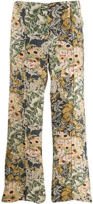 Rokh cross-stitch effect flared trousers