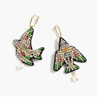 J.Crew Leather-backed beaded bird earrings