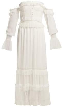 Jonathan Simkhai Corset Style Ruffled Tulle Dress - Womens - White