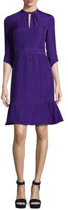 Nanette Lepore 3/4-Sleeve Silk Jacquard Cocktail Dress, Purple $448 thestylecure.com
