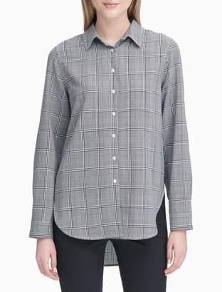 Calvin Klein Plaid Button-Down High-Low Tunic Shirt