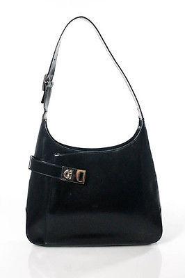 Salvatore FerragamoSalvatore Ferragamo Black Leather Silver Tone Small Structured Shoulder Bag