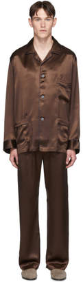 Brioni Brown Silk Embroidered Pocket Pyjama Set