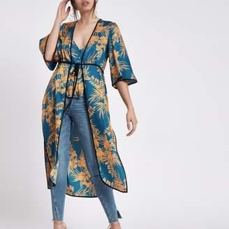 River Island Womens Blue floral tie front kimono