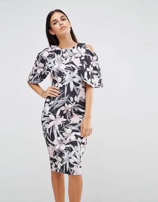 Vesper Cape Sleeve Tropical Print Pencil Dress $53 thestylecure.com