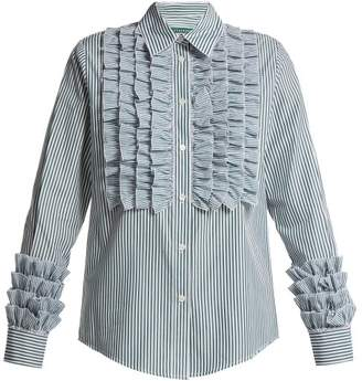 ALEXACHUNG Striped Ruffle Front Blouse - Womens - Green Stripe