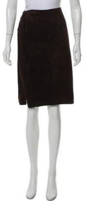 Valentino Suede Knee-Length Skirt Brown Suede Knee-Length Skirt