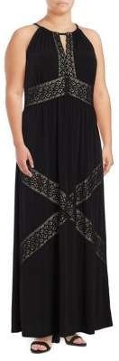 London Times Plus Embroidered Maxi Dress