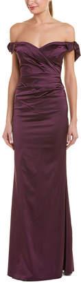 Teri Jon By Rickie Freeman Tie Sleeve Off The Shoulder Gown