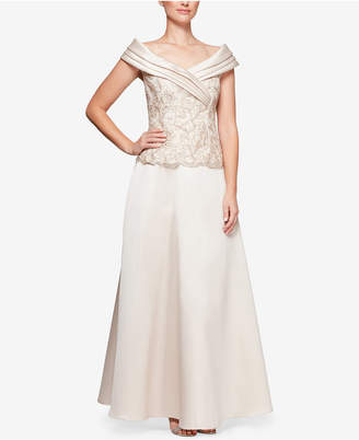 Alex Evenings 2-Pc. Embroidered Portrait-Collar Gown