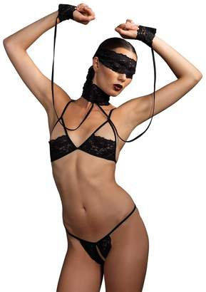 e9aee2c98cf Leg Avenue Women s Kink by 4 Piece Chain Bra and G-String with Wrist  Restraint