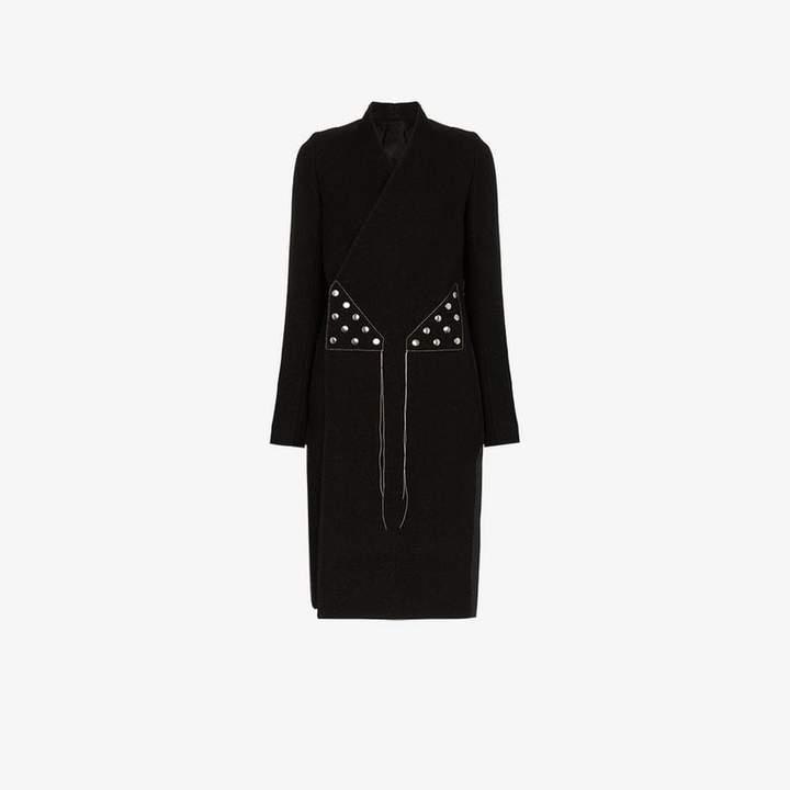 double-breasted stud embellished virgin wool blend coat