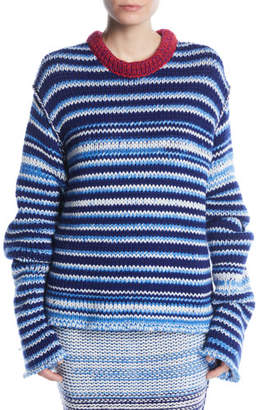 Calvin Klein Crewneck Television-Striped Oversized Sweater