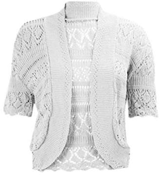 RIDDLED WITH STYLE Womens Chorochet Knitted Bolero Shrug Top Ladies Short Sleeve Cardigan Crop Top#( Knitted Bolero Shrug##Womens)
