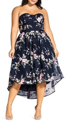 City Chic Plus Aphrodite Strapless Floral-Embroidered Dress