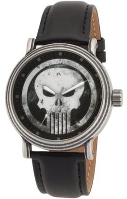 Marvel Marvel's Knight Present Punisher Men's' Antique Silver Alloy Vintage Watch, Black Leather Strap