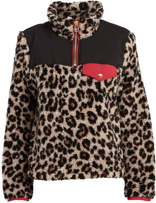 Veronica Beard Kylan Leopard-Printed Sherpa Pullover